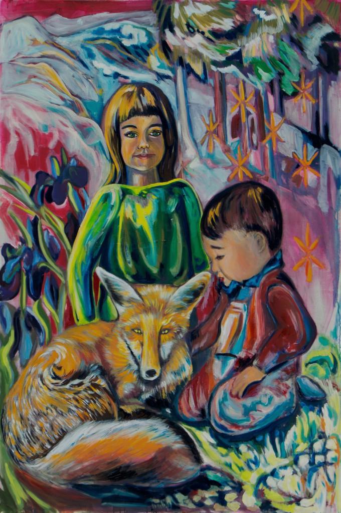 Kinder und Fuchs-Öl- 2008